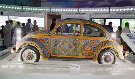 Exhibition and virtual visit on Mexico. Paris, the Parc de la Villette (France). from 4 to 22 July 2015. Here, the Vochol, a car coated beads glued