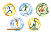 Five different sports disciplines on a circular background