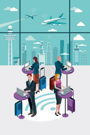Business People Using Laptop at Airport