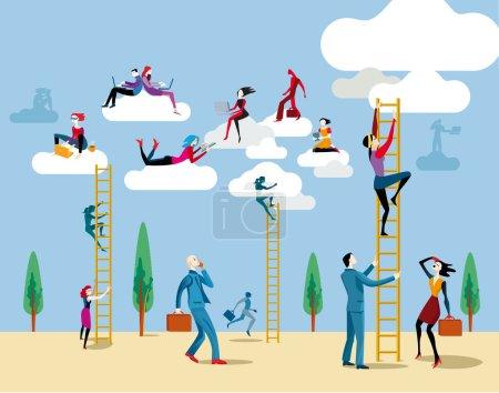 Illustration pour Les hommes et les femmes montent au ciel par une échelle pour accéder au nuage à partir duquel ils travaillent en ligne et partager des informations et des connaissances . - image libre de droit