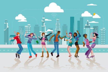Illustration pour Groupe de jeunes dansant et sautant dans une rue d'une ville moderne. Illustration vectorielle . - image libre de droit