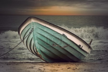Vintage boat in stormy weather