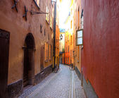 Empty narrow street in the Old Town of Stockholm