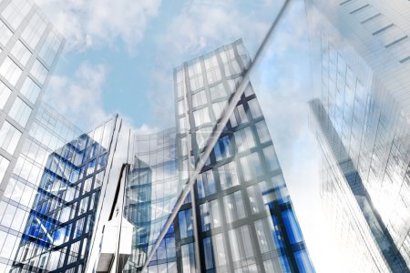 Photo for Glass facades of modern office buildings reflected in other building - Royalty Free Image