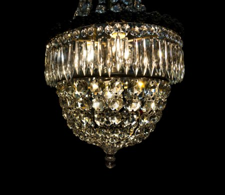 Vintage chandelier on black