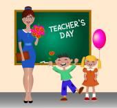 Vector Illustration on Happy Teacher's Day Children greet teacher Schoolchildren give flowers teacher The kids and the teacher standing at the blackboard Back to school