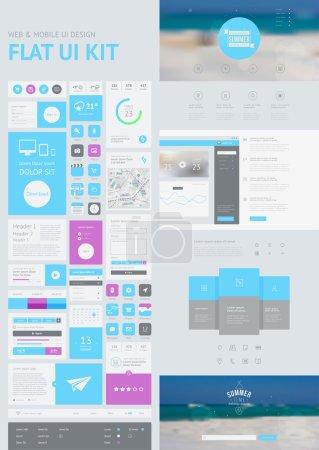 Illustration pour Ui plat kit pour web et mobile, conception d'interface utilisateur, modèle de conception de site Web page. tout en un seul ensemble de conception de sites Web qui inclut des modèles de site Web une page et illustrations concept design plat. - image libre de droit