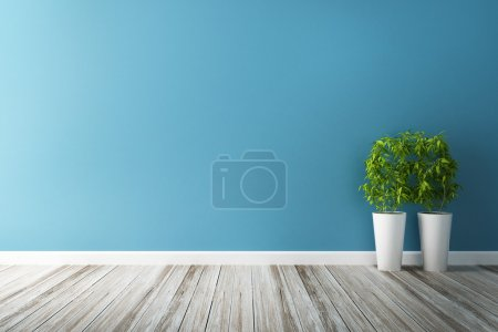 White flower plot and blue wall interior...