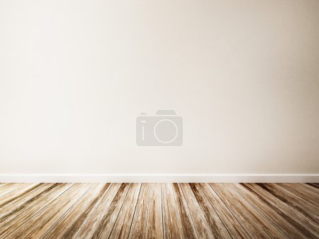 Empty room of white wall and wood floor