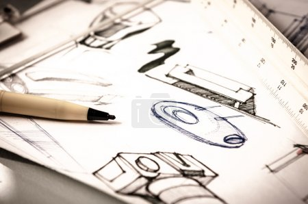 Photo for Idea sketch of product design - Royalty Free Image