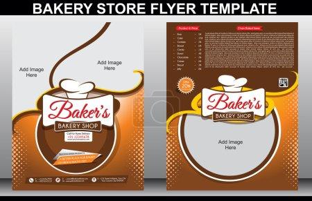 Illustration pour Modèle de dépliant de boulangerie et illutsration vectorielle de couverture de magazine - image libre de droit
