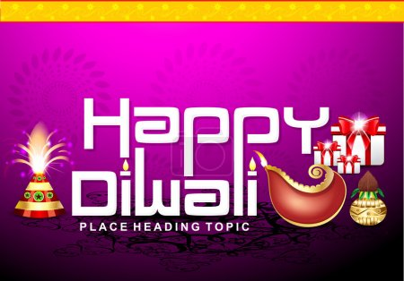 happy diwali text background with cracker & gifts