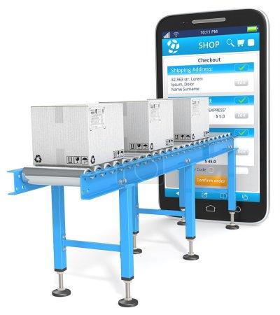 Photo pour Convoyeur industriel avec boîtes en carton connectées au Smartphone. Page de paiement . - image libre de droit