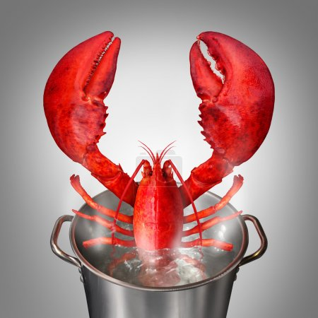 Photo for Lobster in a pot as a fresh catch of the day cooked red crustacean sticking out of a cooking kettle with boiling water as a seafood symbol and fine dinning restaurant meal. - Royalty Free Image