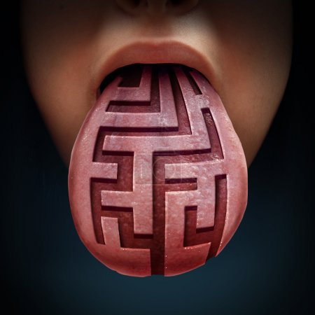 Photo for Eating disorder and binge feeding psychiatric health issue as a human tongue with a maze or labyrinth pattern as a medical symbol for anorexia bulimia or purging illness issues and finding solutions. - Royalty Free Image