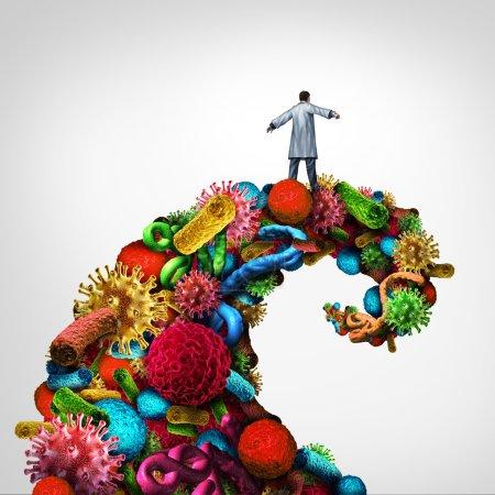 Photo pour Lutte contre la maladie et immunologie concept de santé médicale en tant que médecin chevauchant une vague de danger faite de bactéries virus et cellules cancéreuses comme symbole de soins de santé pour la pathologie et la recherche pour trouver un remède . - image libre de droit