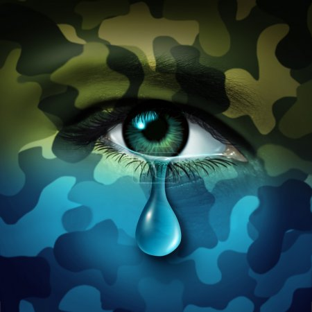 Photo for Military depression mental health concept and casualty of war symbol as a crying human eye tear with green camouflage transforming into a blue mood as a metaphor for veteran healthcare or combatant issues. - Royalty Free Image