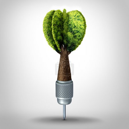 Photo for Environmental goal and green marketing success as a 3D illustration dart with a tree growing shaped as a target arrow as a business investment symbol or ecology conservation goals. - Royalty Free Image