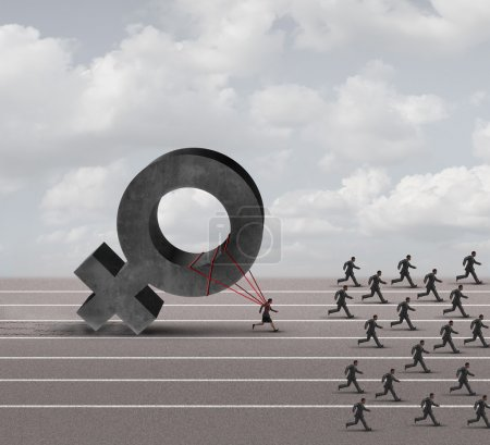 Photo for Sexism descrimination concept as a struggling woman with the burden of pulling a heavy female 3D illustration symbol falling behind a group of running businessmen or men as an unfair gender bias icon. - Royalty Free Image