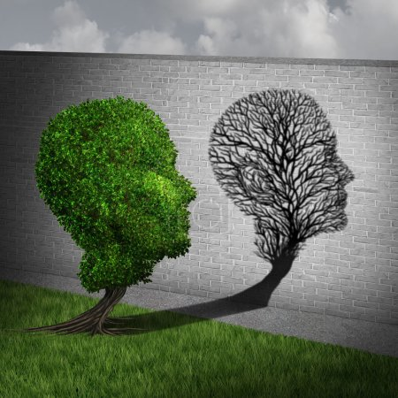 Photo for Feeling sick and sickness concept as a full green tree casting a shadow on a wall shaped as an empty plant with only branches as a health symbol of human disease and illness in a 3D illustration style. - Royalty Free Image