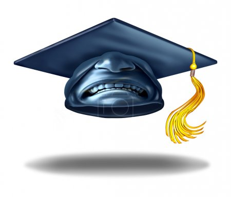 Photo for Education failure and horrible teaching symbol as a graduation hat or mortar cap with an expression of disgust as a learning challenge metaphor as a 3D illustration. - Royalty Free Image