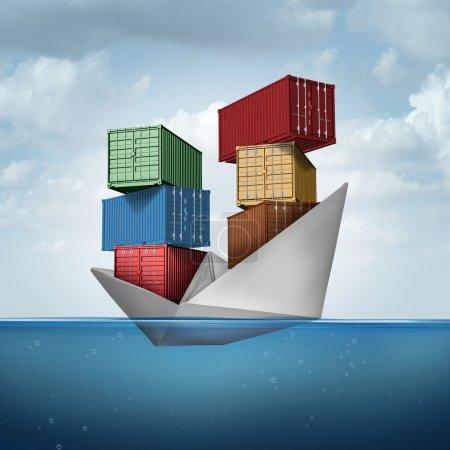 Photo pour Navire de fret maritime en tant que porte-conteneurs transportant des marchandises lourdes en tant que navire en papier transportant des conteneurs d'expédition en tant que concept de commerce et d'exportation avec des éléments d'illustration 3D . - image libre de droit