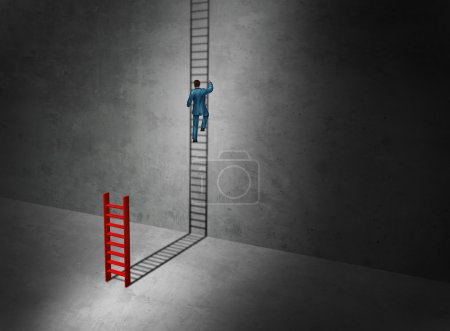 Photo for Business success imagination aspirtations concept as a businessman climbing the long upward cast shadow of a small ladder as a surreal symbol for imaginative leadership with 3D illustration elements. - Royalty Free Image