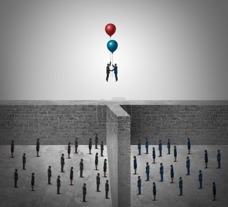 Photo for Business success agreement concept as two groups of people divided by a wall with business leaders using balloons to rise above the obstacle as a success metaphor in a 3D illustration style. - Royalty Free Image