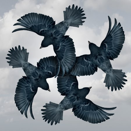 Photo for Family circle symbol as a group of coordinated and organized flying birds joining wings together as a trust metaphor for friendship and support as a photo realistic illustration. - Royalty Free Image