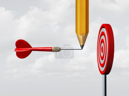 Photo for Success consulting concept and business marketing advice system as a pencil drawing on a flying dart an extended target needle straight towards a focused goal as a motivation and achievement metaphor with 3D illustration elements. - Royalty Free Image