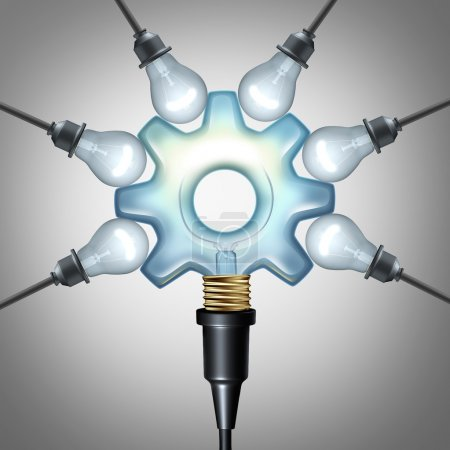 Photo pour Economie créative et créativité concept de l'industrie comme une ampoule centrale en forme d'engrenage ou d'engrenage connecté à un groupe d'ampoules comme un symbole d'entreprise pour la solution de communication marketing ou la publicité des idées et de l'innovation imaginative comme un il 3D - image libre de droit