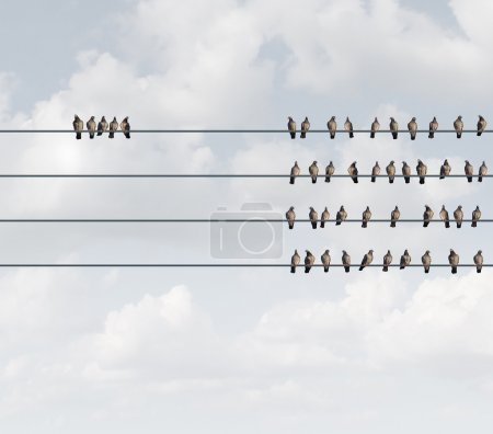 Photo for Excluded group business concept as birds on a wire with a small team perched away and apart from the majority as a social metaphor for exclusion or discrimination with 3D illustration elements. - Royalty Free Image