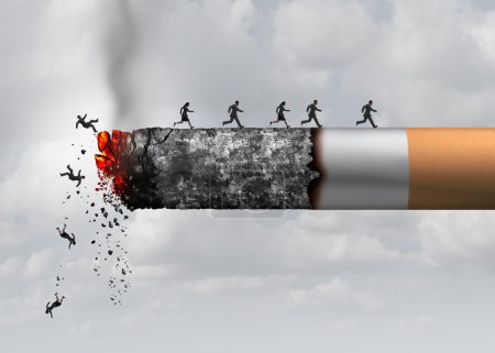 Photo for Smoking death and danger concept as a cigarette burning with people falling and escaping the hot burning ash as a metaphor for toxic smoke exposure causing lung cancer and lethal health risks with 3D illustration elements. - Royalty Free Image
