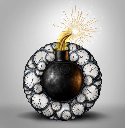 Photo pour Concept de délai d'affaires bombe à retardement comme un dispositif explosif entouré d'objets horloge minuterie comme une planification stressante urgente ou métaphore du compte à rebours comme une illustration 3D . - image libre de droit
