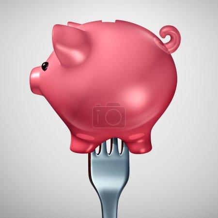 Photo pour Appétit d'investissement économique comme une fourchette à l'intérieur d'une icône de symbole ou tirelire tirelire financière comme un concept financier pour investissement ou cupidité consumérisme comme une illustration 3d. - image libre de droit