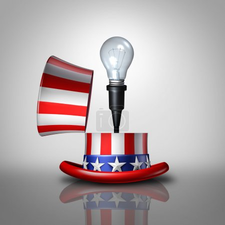 Photo pour Concept d'idée américaine comme chapeau de drapeau ouvert des États-Unis avec une ampoule émergeant comme symbole national de l'invention et des idées créatives ou stratégie de campagne électorale comme illustration 3D . - image libre de droit