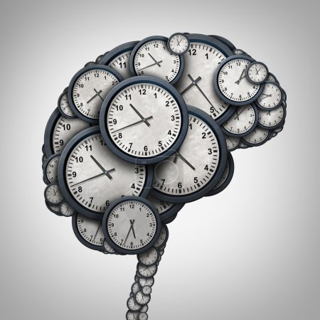 Photo for Time brain thinking concept as a group of clock objects shaped as a human mind as a business punctuality and appointment stress metaphor or deadline pressure and overtime icon as a 3D illustration. - Royalty Free Image