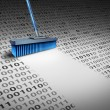 Deleting data technology concept as a broom wiping...