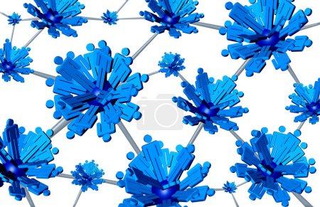 Foto de Concepto de tecnología de comunicación de grupos sociales como tres iconos tridimensionales personas agrupadas conectados a otros equipos, formando una estructura vinculada global de éxito de cooperación unida. - Imagen libre de derechos