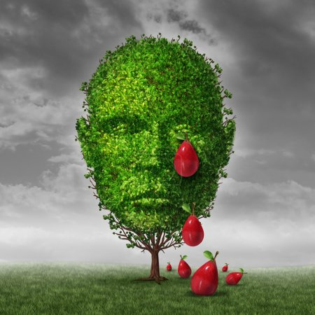 Photo for Depression and mental health concept as a tree shaped as a human head that is crying fruit shaped as tear drops as a metaphor for being depressed postpartum or sadness in the mature age. - Royalty Free Image
