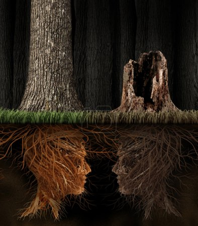 Photo for Grief And Grieving concept as two trees with roots shaped as human heads with one dead tree in a forest as a symbol for loss and a metaphor for spirituality in mourning a loved one that has died. - Royalty Free Image