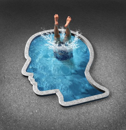 Photo for Deep thinking and soul searching concept with a person diving into a swimming pool shaped as a human face as a symbol of self examination and mental health issues related to inner feelings and emotions. - Royalty Free Image
