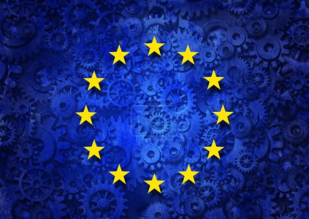 Photo pour European business concept as a group of machine gears with the flag of europe as a concept for the economy and a financial system icon. - image libre de droit