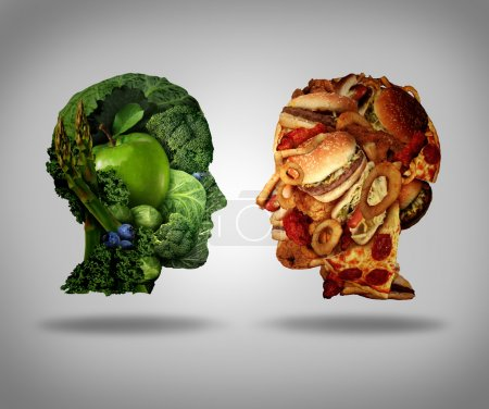 Photo for Lifestyle choice and dilemma concept as a two human faces one made of fresh green vegetables and fruit and the other head shaped with greasy fast food as hamburgers and fried foods as a symbol of nutrition facts and healthy living issues. - Royalty Free Image