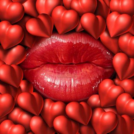 Photo pour Concept romantique et symbole d'amour comme lèvres féminines rouges entourées d'un groupe d'icônes du cœur représentant les sentiments relationnels et les émotions de la passion . - image libre de droit