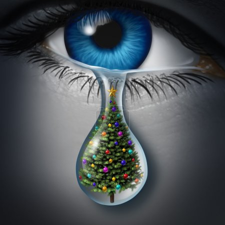 Photo for Holiday depression and winter season anxiety and emotional crisis concept as a human eyeball crying a tear with a christmas tree inside as a metaphor for seasonal sadness. - Royalty Free Image