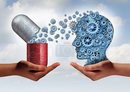Photo pour Brain medicine mental health care concept as hands holding an open pill capsule releasing gears to a human head made of machine cog wheels as a symbol for the pharmaceutical science of neurology and the treatment of psychological illness. - image libre de droit