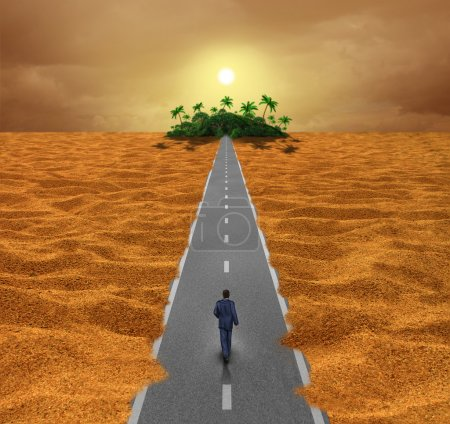 Photo for Discover opportunity  business concept for success as a person walking on a desert road to an oasis of hope or a spiritual journey for the future. - Royalty Free Image
