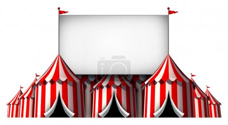 Photo for Circus sign as a group of big top carnival tents with a  large blank billboard as a fun entertainment icon for a theatrical celebration or party festival isolated on a white background. - Royalty Free Image