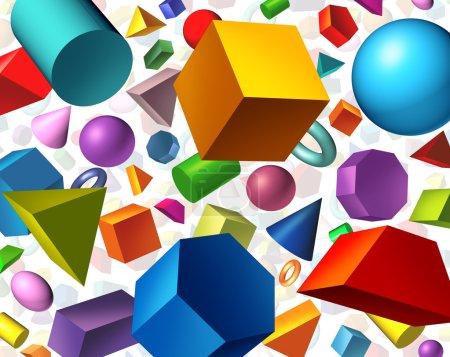 Photo pour Formes géométriques arrière-plan et concept de géométrie comme figures tridimensionnelles de base comme cylindre à sphère cubique flottant sur blanc comme symbole d'apprentissage de l'éducation et des mathématiques . - image libre de droit